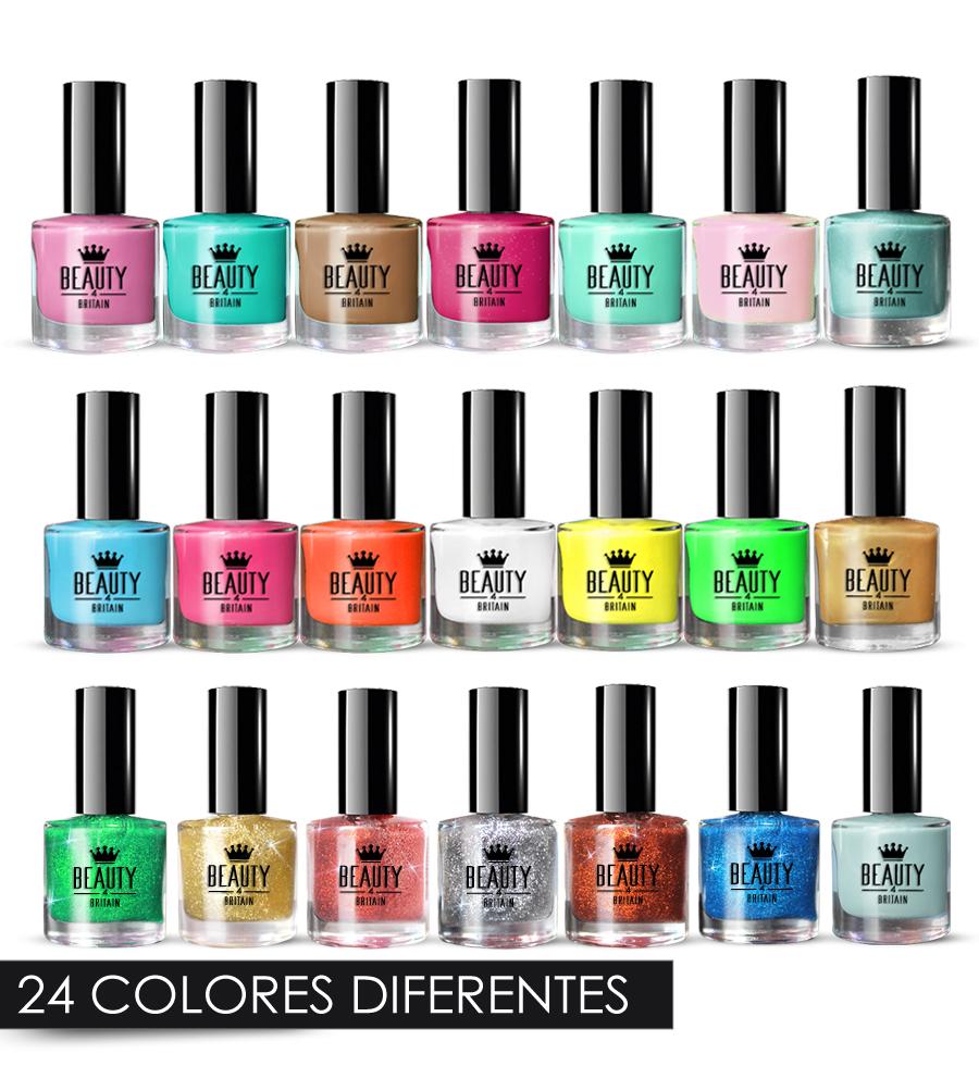 Detalles De Set De 24 Esmalte De Uñas De Lujo 24 Colores Diferentes Brocado Pastel Perlas