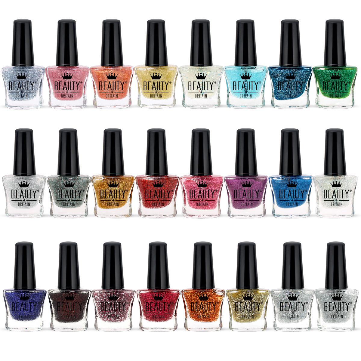 lot de 48 paillettes de vernis ongles 24 couleurs vives et modernes ebay. Black Bedroom Furniture Sets. Home Design Ideas