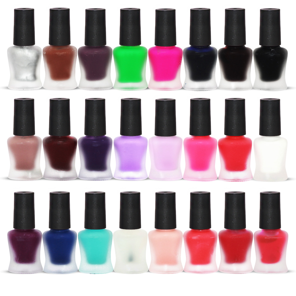 24 x MATTE NAIL POLISH SET 24 DIFFERENT COLOURS HIGH COVERAGE QUICK ...