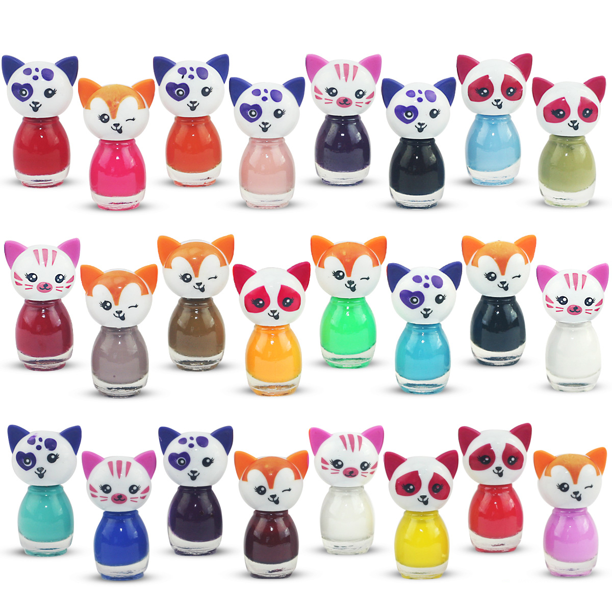 24 x nail polish cat shaped peel off water based 24 different colors ebay